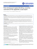 """Báo cáo y học: """" Post-menopausal vaginal bleeding caused by carcinoma of the appendix: a case report"""""""