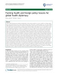 """báo cáo khoa học: """"Framing health and foreign policy: lessons for global health diplomacy"""""""