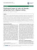 "báo cáo khoa học: ""Psychosocial impact of sickle cell disorder: perspectives from a Nigerian setting"""
