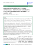 "báo cáo khoa học: "" Major multinational food and beverage companies and informal sector contributions to global food consumption: implications for nutrition policy"""