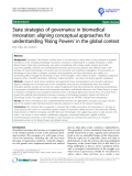 "báo cáo khoa học: ""State strategies of governance in biomedical innovation: aligning conceptual approaches for understanding 'Rising Powers' in the global context"""