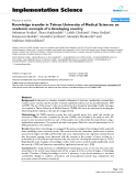 "báo cáo khoa học: ""  Knowledge transfer in Tehran University of Medical Sciences: an academic example of a developing country"""