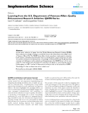 """báo cáo khoa học: """"  Learning from the U.S. Department of Veterans Affairs Quality Enhancement Research Initiative: QUERI Series"""""""