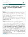 "Báo cáo y học: "" A cross-sectional testing of The Iowa Personality Disorder Screen in a psychiatric outpatient setting"""