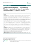 "Báo cáo y học: "" Communication patterns in a psychotherapy following traumatic brain injury: A quantitative case study based on symbolic dynamics"""