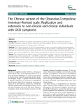 "Báo cáo y học: "" The Chinese version of the Obsessive-Compulsive Inventory-Revised scale: Replication and extension to non-clinical and clinical individuals with OCD symptoms"""