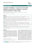 "Báo cáo y học: "" Cognitive flexibility in verbal and nonverbal domains and decision making in anorexia nervosa patients: a pilot study"""