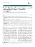 """Báo cáo y học: """"Factors affecting staff morale on inpatient mental health wards in England: a qualitative investigation"""""""