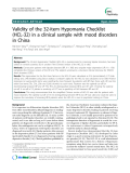 """Báo cáo y học: """"Validity of the 32-item Hypomania Checklist (HCL-32) in a clinical sample with mood disorders in China"""""""