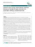 "Báo cáo y học: ""Internet-versus group-administered cognitive behaviour therapy for panic disorder in a psychiatric setting: a randomised trial"""
