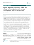"Báo cáo y học: "" Suicidal intention, psychosocial factors and referral to further treatment: A one-year cross-sectional study of self-poisoning"""