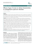 "Báo cáo y học: ""Effects of age of onset on clinical characteristics in schizophrenia spectrum disorders"""