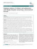 "Báo cáo y học: ""Database analysis of children and adolescents with Bipolar Disorder consuming a micronutrient formula"""