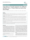 "Báo cáo y học: "" Antecedents of hospital admission for deliberate self-harm from a 14-year follow-up study using data-linkage"""