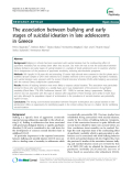 """Báo cáo y học: """" Open Access  The association between bullying and early stages of suicidal ideation in late adolescents in Greece"""""""
