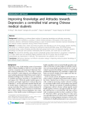 """Báo cáo y học: """"  Improving Knowledge and Attitudes towards Depression: a controlled trial among Chinese medical students"""""""