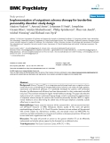"""Báo cáo y học: """"  Implementation of outpatient schema therapy for borderline personality disorder: study design"""""""