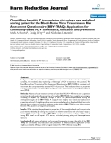 """báo cáo khoa học: """"   Quantifying hepatitis C transmission risk using a new weighted scoring system for the Blood-Borne Virus Transmission Risk Assessment Questionnaire (BBV-TRAQ): Applications for community-based HCV surveillance, education and prevention"""""""