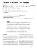 "Báo cáo y học: "" Vertebral artery dissection presenting as a Brown-Séquard syndrome: a case report"""