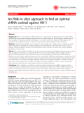 "Báo cáo y học: "" An RNAi in silico approach to find an optimal shRNA cocktail against HIV-1"""