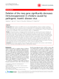 "Báo cáo y học: "" Deletion of the meq gene significantly decreases immunosuppression in chickens caused by pathogenic marek's disease virus"""