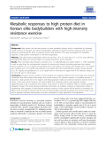 """Báo cáo y học: """" Metabolic responses to high protein diet in Korean elite bodybuilders with high-intensity resistance exercise"""""""