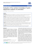 "Báo cáo y học: ""  Evaluation of the nutrition knowledge of sports department students of universities"""