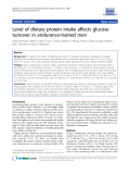 "Báo cáo y học: ""   Level of dietary protein intake affects glucose turnover in endurance-trained men"""