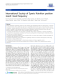"Báo cáo y học: "" International Society of Sports Nutrition position stand: meal frequency"""