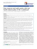 "báo cáo khoa học:"" Does maternal oral health predict child oral health-related quality of life in adulthood?"""