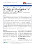 "báo cáo khoa học:"" Reliability and validity of the Spanish version of the 10-item Connor-Davidson Resilience Scale (10-item CD-RISC) in young adults"""