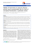 """báo cáo khoa học:"""" Validity of instruments to measure physical activity may be questionable due to a lack of conceptual frameworks: a systematic review"""""""