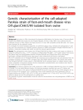 """Báo cáo y học: """"Genetic characterization of the cell-adapted PanAsia strain of foot-and-mouth disease virus O/Fujian/CHA/5/99 isolated from swine"""""""