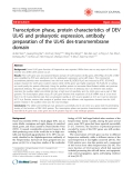"Báo cáo y học: ""Transcription phase, protein characteristics of DEV UL45 and prokaryotic expression, antibody preparation of the UL45 des-transmembrane domain"""