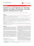 """Báo cáo y học: """"Evaluation of a rapid diagnostic test, NanoSign® Influenza A/B Antigen, for detection of the 2009 pandemic influenza A/H1N1 viruses"""""""