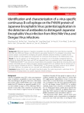 "Báo cáo y học: ""Identification and characterization of a virus-specific continuous B-cell epitope on the PrM/M protein of Japanese Encephalitis Virus: potential application in the detection of antibodies to distinguish Japanese Encephalitis Virus infection from West Nile Virus and Dengue Virus infections"""