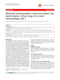 """Báo cáo y học: """" Molecular characterization, structural analysis and determination of host range of a novel bacteriophage LSB-1"""""""