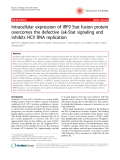 "Báo cáo y học: ""Intracellular expression of IRF9 Stat fusion protein overcomes the defective Jak-Stat signaling and inhibits HCV RNA replication"";"