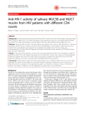 "Báo cáo y học: "" Anti-HIV-1 activity of salivary MUC5B and MUC7 mucins from HIV patients with different CD4 counts"""