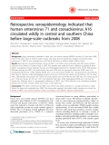"Báo cáo y học: "" Retrospective seroepidemiology indicated that human enterovirus 71 and coxsackievirus A16 circulated wildly in central and southern China before large-scale outbreaks from 2008"""