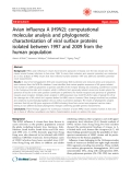 "Báo cáo y học: "" Avian influenza A (H9N2): computational molecular analysis and phylogenetic characterization of viral surface proteins isolated between 1997 and 2009 from the human population"""