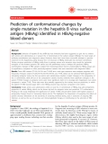 "Báo cáo y học: "" Prediction of conformational changes by single mutation in the hepatitis B virus surface antigen (HBsAg) identified in HBsAg-negative blood donors"""
