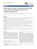 "báo cáo khoa học:"" Health status in routine clinical practice: validity of the clinical COPD questionnaire at the individual patient level"""