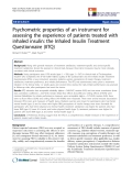 "báo cáo khoa học:"" Psychometric properties of an instrument for assessing the experience of patients treated with inhaled insulin: the Inhaled Insulin Treatment Questionnaire (IITQ)"""