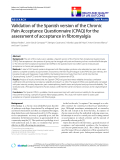 """báo cáo khoa học:""""  Validation of the Spanish version of the Chronic Pain Acceptance Questionnaire (CPAQ) for the assessment of acceptance in fibromyalgia"""""""