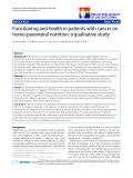 "báo cáo khoa học:"" Functioning and health in patients with cancer on home-parenteral nutrition: a qualitative study"""