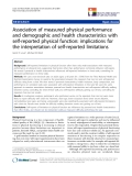 "báo cáo khoa học:""  Association of measured physical performance and demographic and health characteristics with self-reported physical function: implications for the interpretation of self-reported limitations"""
