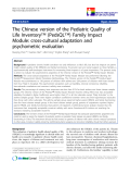 "báo cáo khoa học:"" The Chinese version of the Pediatric Quality of Life Inventory™ (PedsQL™) Family Impact Module: cross-cultural adaptation and psychometric evaluation"""