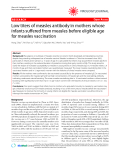 "Báo cáo y học: "" Low titers of measles antibody in mothers whose infants suffered from measles before eligible age for measles vaccination"""