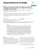 """báo cáo sinh học:"""" Equity-oriented toolkit for health technology assessment and knowledge translation: application to scaling up of training and education for health workers"""""""